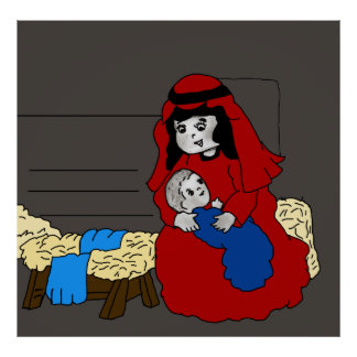 Little Mary and Jesus in Red Poster