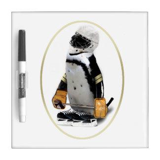 Little Mascot Hockey Player Penguin Dry Erase Whiteboards