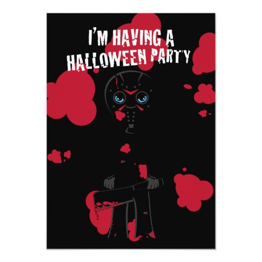 Little Masked Killer Halloween Invite 13 Cm X 18 Cm Invitation Card