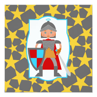 Little medieval knight birthday party card