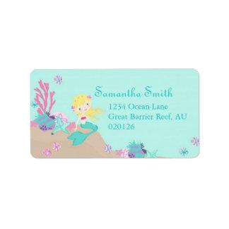Little Mermaid Address Label Blonde