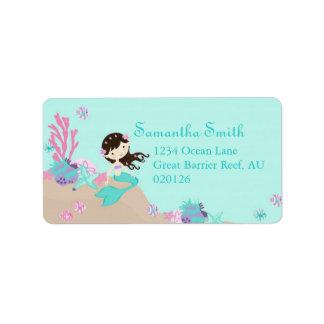Little Mermaid Address Label Brunette