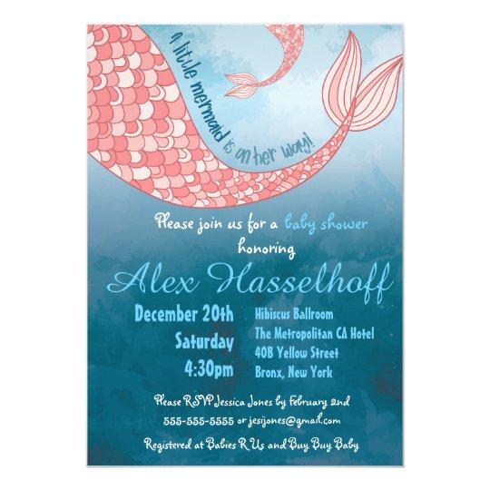 Little Mermaid Baby Shower Invitation Zazzlecom