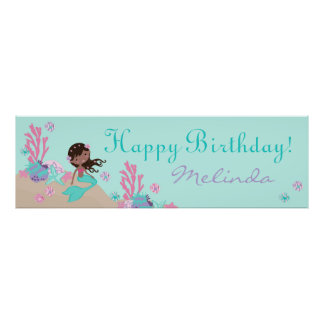 Little Mermaid Birthday Banner African Poster