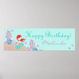 Little Mermaid Birthday Banner Auburn Poster