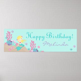 Little Mermaid Birthday Banner Blonde Poster