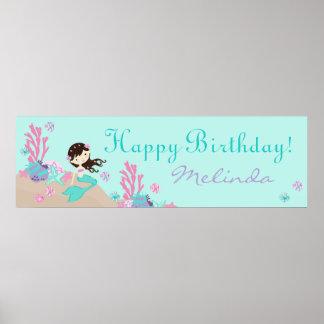 Little Mermaid Birthday Banner Brunette Poster