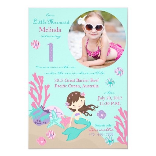Little Mermaid Birthday Invitation Lt Brunette 1