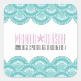 little MERMAID birthday party favor sticker 1