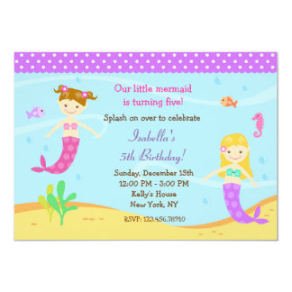 little mermaid birthday party invitations - Little Mermaid Party Invitations