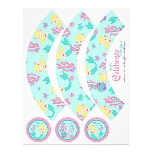 "Little Mermaid Cupcake Wrappers Blonde 3B 8.5"" X 11"" Flyer"