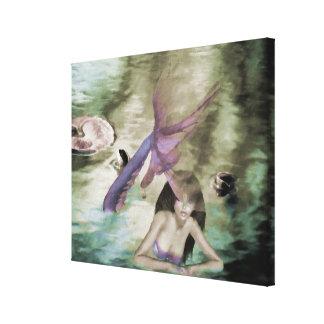 Little mermaid envolvió la lona impresión en lienzo