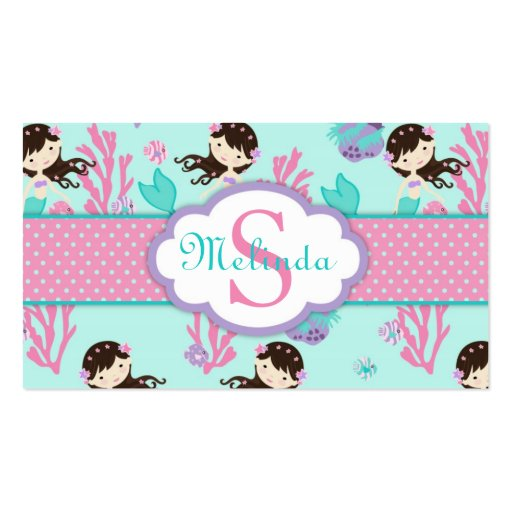 Little Mermaid Gift Tag M Brunette Business Card