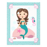 Little mermaid girl cute flat thank you note cards