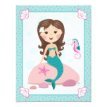 Little mermaid girl cute flat thank you note cards custom invite