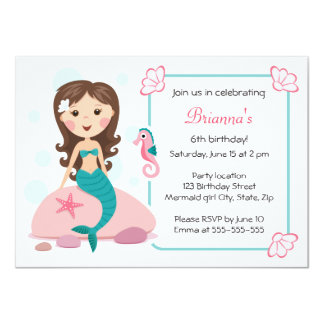little mermaid girl cute girly birthday invitation - Little Mermaid Party Invitations