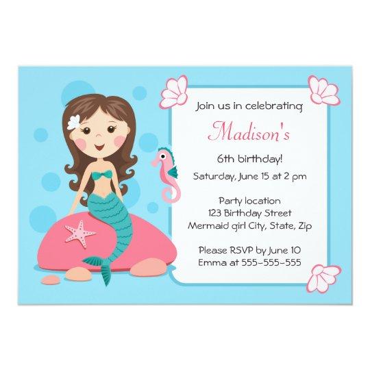 Little mermaid girl cute girly birthday invitation zazzle little mermaid girl cute girly birthday invitation filmwisefo
