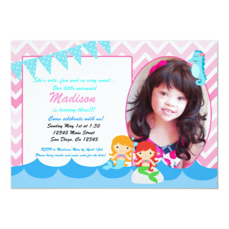 little mermaid girls birthday party invitation - Little Mermaid Party Invitations