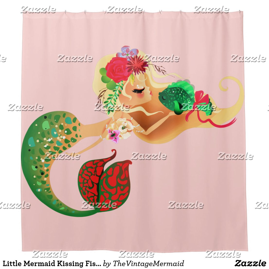 Little Mermaid Kissing Fish Shower Curtain