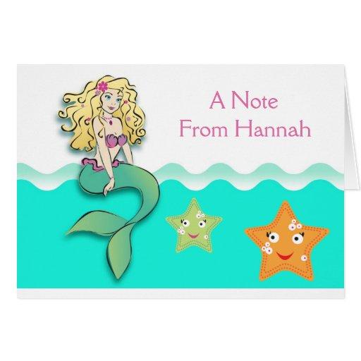 Little mermaid lindo tarjeta pequeña