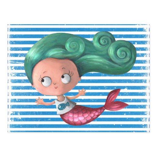 Little mermaid lindo tarjeta postal