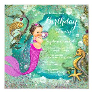 """Little mermaid rosado bajo fiesta de cumpleaños invitación 5.25"""" x 5.25"""""""
