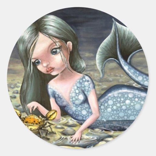 Little mermaid round sticker