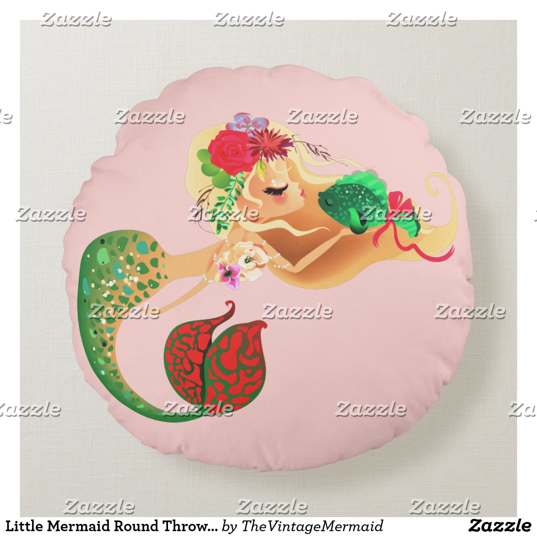 Little Mermaid Round Throw Pillow Fish