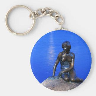 Little mermaid statue, Copenhagen, Denmark Basic Round Button Keychain