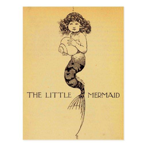 Little mermaid tarjeta postal