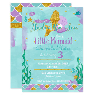 little mermaid under the sea birthday invitation - Little Mermaid Party Invitations