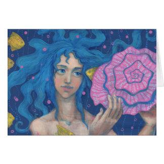 Little Mermaid, Underwater Fantasy Art, Pink Blue Card