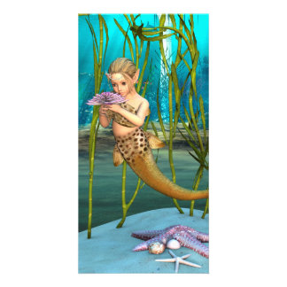 Little Mermaid with Anemone Flower Card