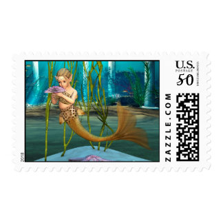 Little Mermaid with Anemone Flower Postage