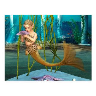 Little Mermaid with Anemone Flower Postcard