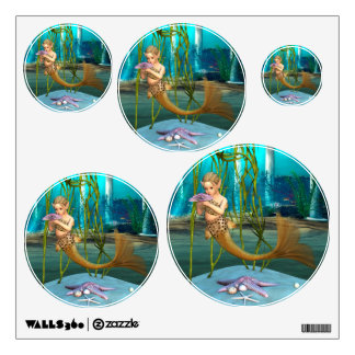 Little Mermaid with Anemone Flower Wall Sticker