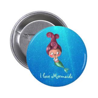 Little Mermaid with Dark Pink Hair Pinback Button