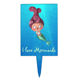 Little Mermaid with Dark Pink Hair Cake Topper
