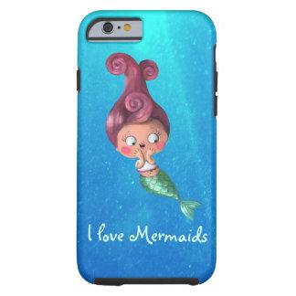 Little Mermaid with Dark Pink Hair Tough iPhone 6 Case