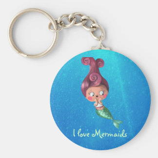Little Mermaid with Dark Pink Hair Key Chains