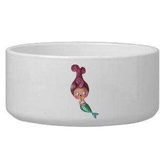 Little Mermaid with Dark Pink Hair Pet Water Bowl
