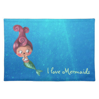 Little Mermaid with Dark Pink Hair Placemat