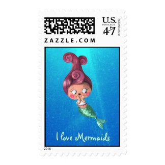 Little Mermaid with Dark Pink Hair Postage