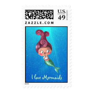 Little Mermaid with Dark Pink Hair Postage Stamps