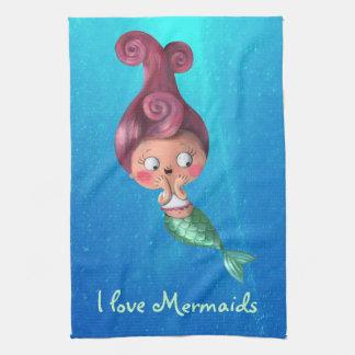 Little Mermaid with Dark Pink Hair Towel