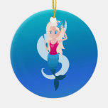 Little mermaid with mirror and wave illustration ceramic ornament