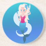 Little mermaid with mirror and wave illustration drink coaster