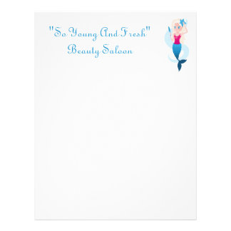 Little mermaid with mirror and wave illustration letterhead