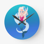 Little mermaid with mirror and wave illustration round clock