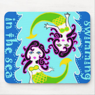 Little Mermaids Swimming in the Sea Mouse Pads